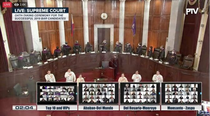 Supreme Court Makes History – Swears In New Batch of Lawyers Online